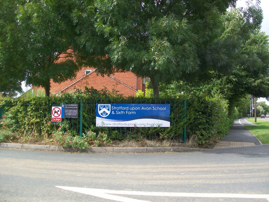 A cheap PVC banner designed for the Stratford Upon Avon School entrance sign
